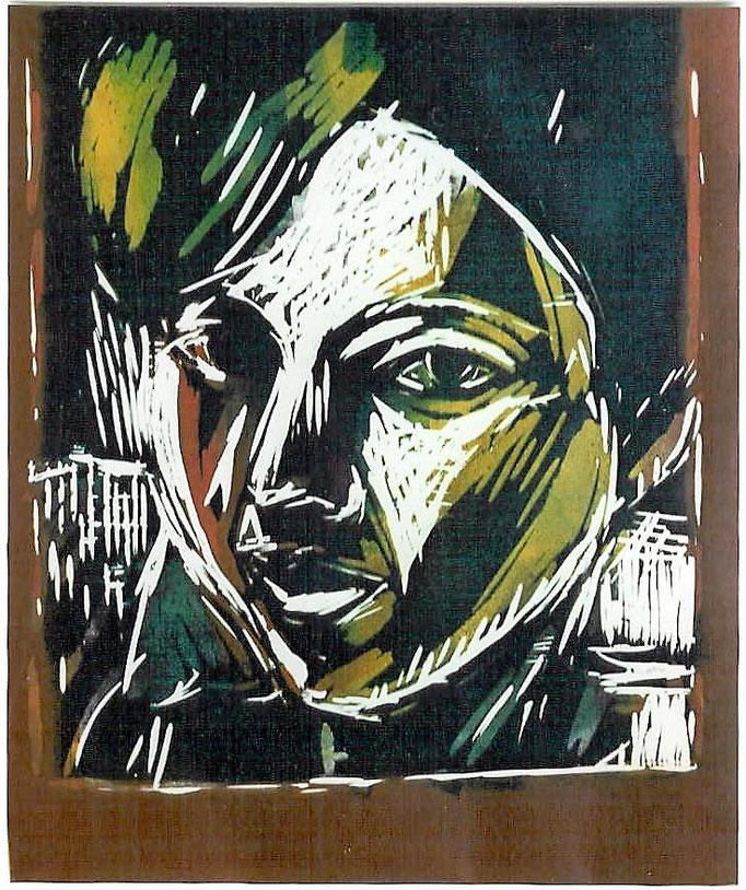 Gladys, gravure sur bois polychrome, 50x65, tirage sur velin, 1981