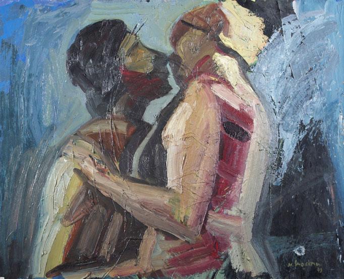 Le baiser, huile sur toile, [1980]