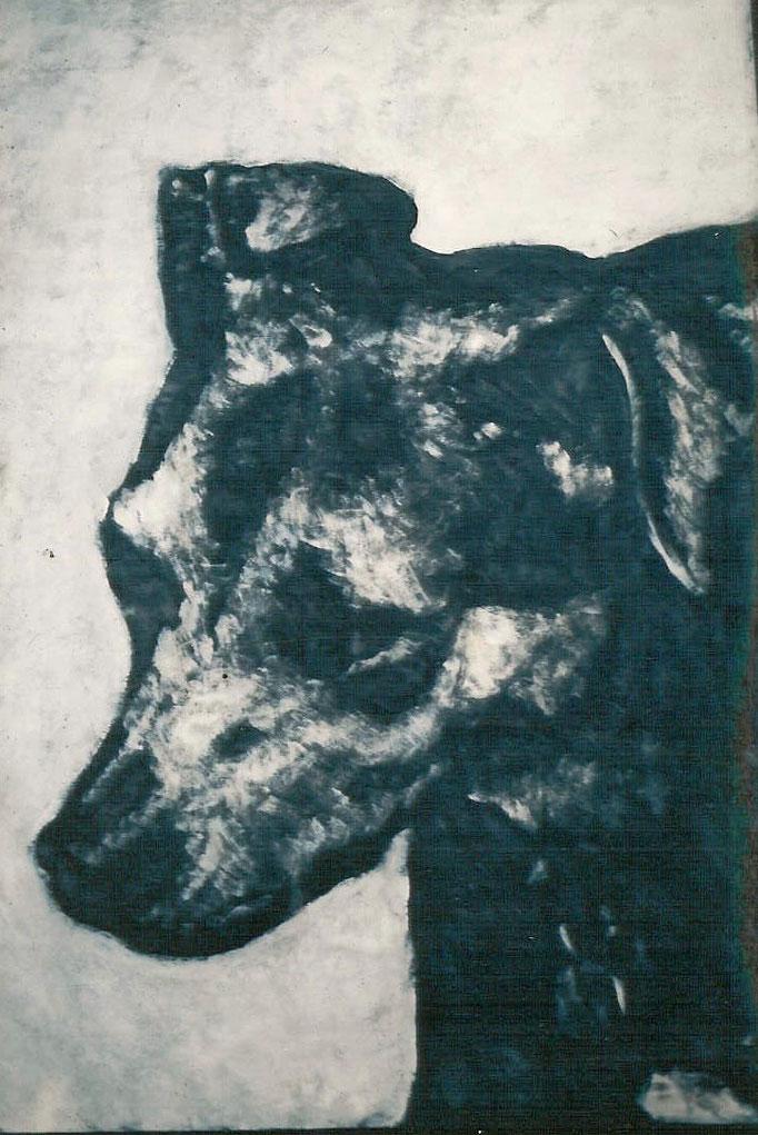 Tête de chien, acrylique, 50x65, [1975], collection d'atelier