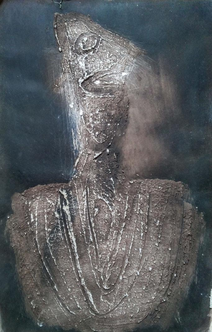 Dictateur, encre et plâtre sur carton [1967], collection d'atelier
