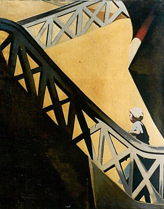 L'escalier série TAT, 146x114, [1974] huile sur toile, collection d'atelier
