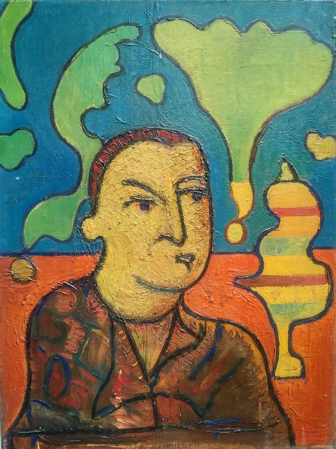 Visage, huile sur toile, [ 1972], collection d'atelier