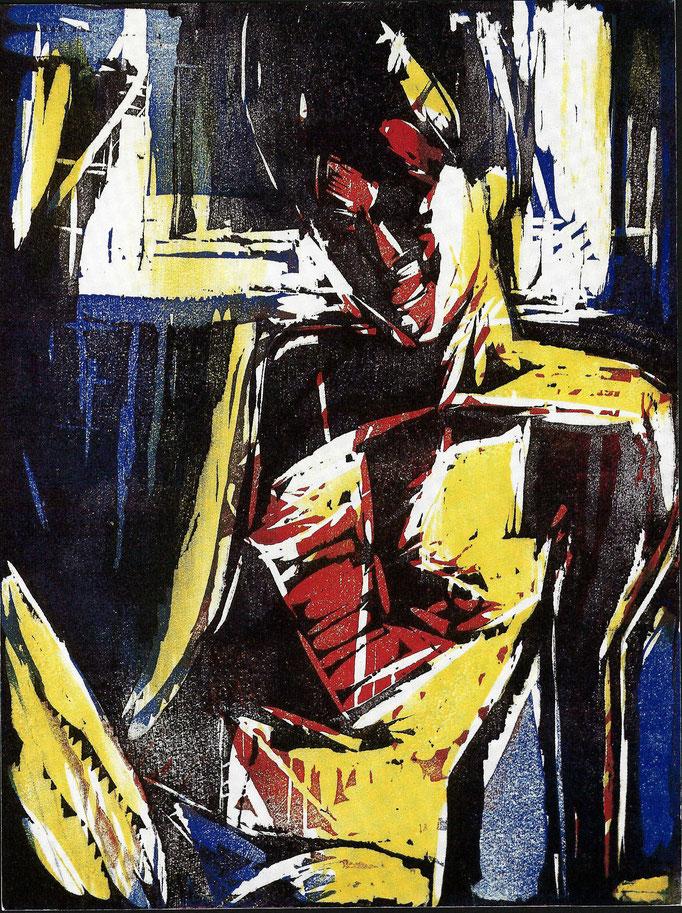 Gladys, gravure sur bois polychrome, tirage sur velin, 1981