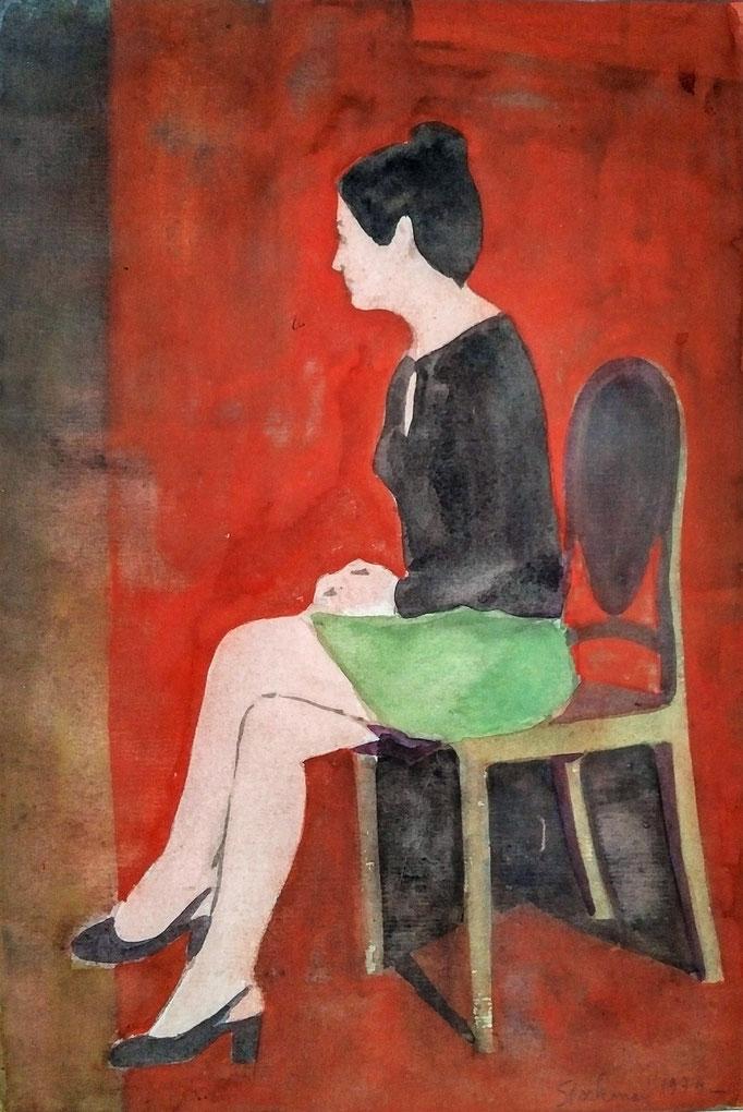 Femme assise, aquarelle,  [1975], collection d'atelier