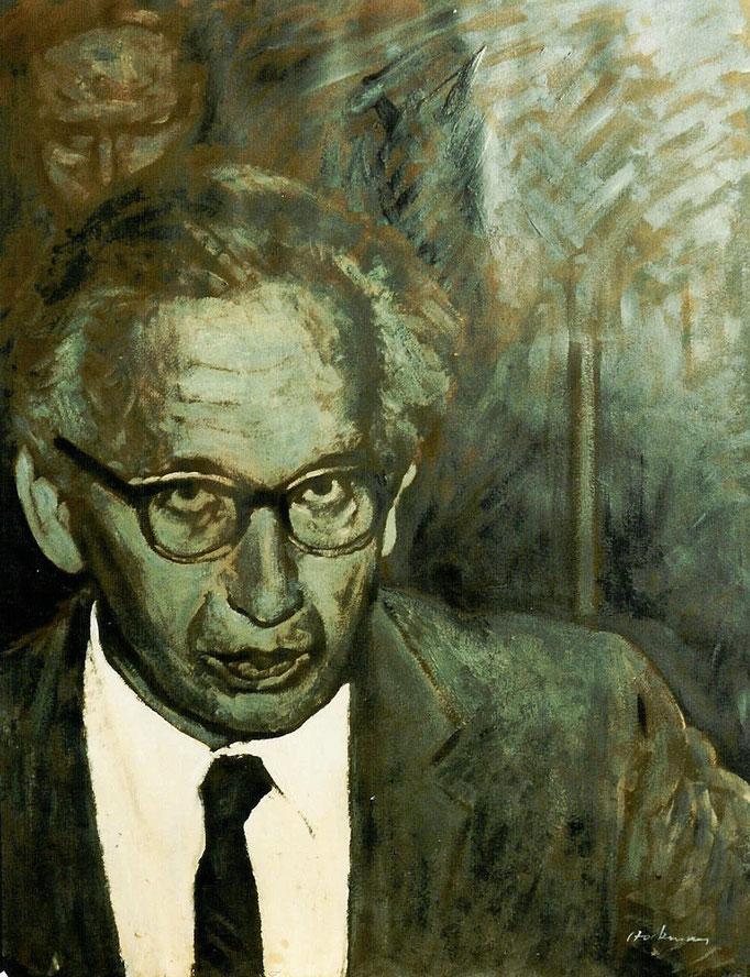Président , huile sur canson, 50x65, [1975], collection d'atelier