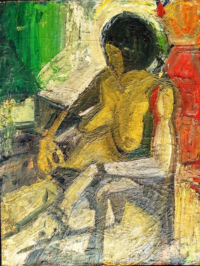 Maryline assise, 116x89, 1978, huile sur toile