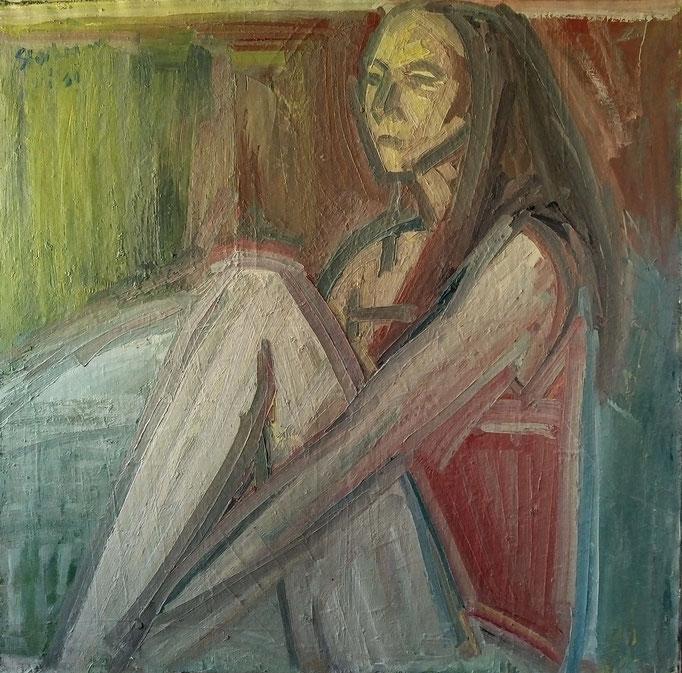 Femme assise, 120x120, huile sur toile