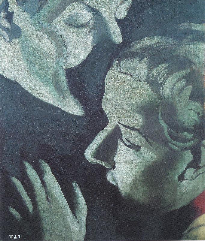 Le baiser série TAT , 80X64, [1974] huile sur toile