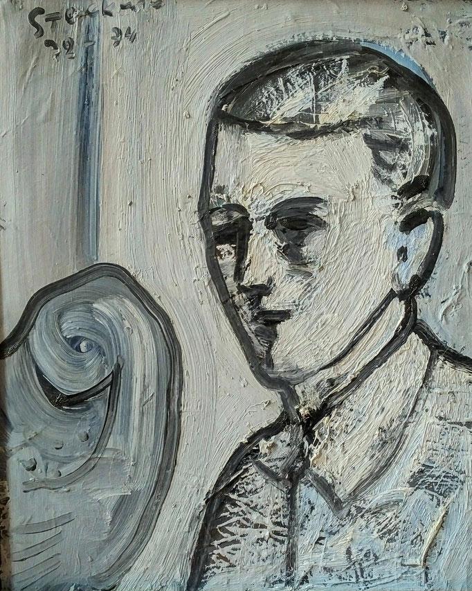 Robert , huile sur toile, [ 1974], collection d'atelier
