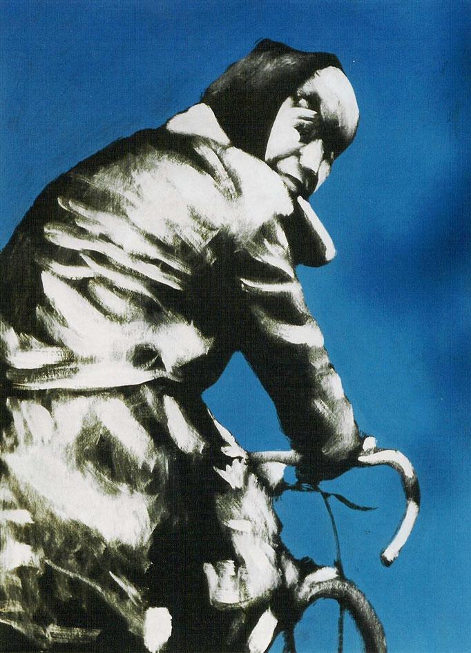 Femme au vélo , acrylique, 50x65, [1975], collection d'atelier