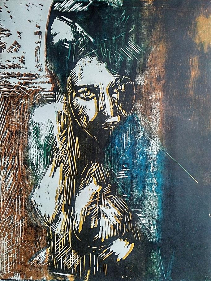 Gladys, gravure sur bois polychrome, 50x65, 1981