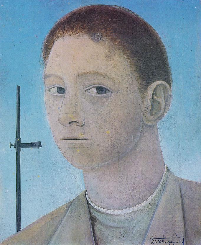 Autoportrait, 22x27, 1954, huile sur toile, collection particulière Belgique