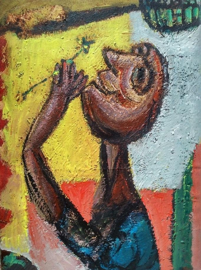 Homme fleur, 25x39,  huile sur carton, collection d'atelier