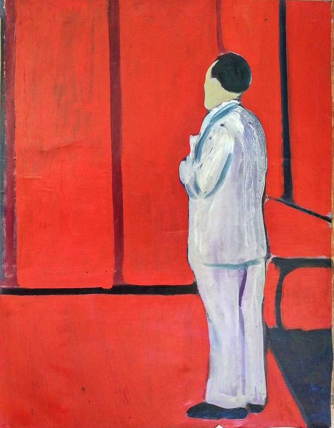 Homme debout, huile sur toile, 50x65, collection s'atelier