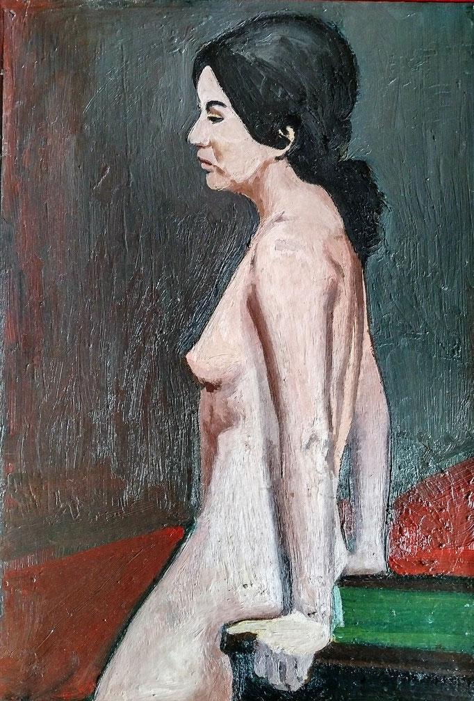 Femme, 50x34, huile sur toile , collection d'atelier