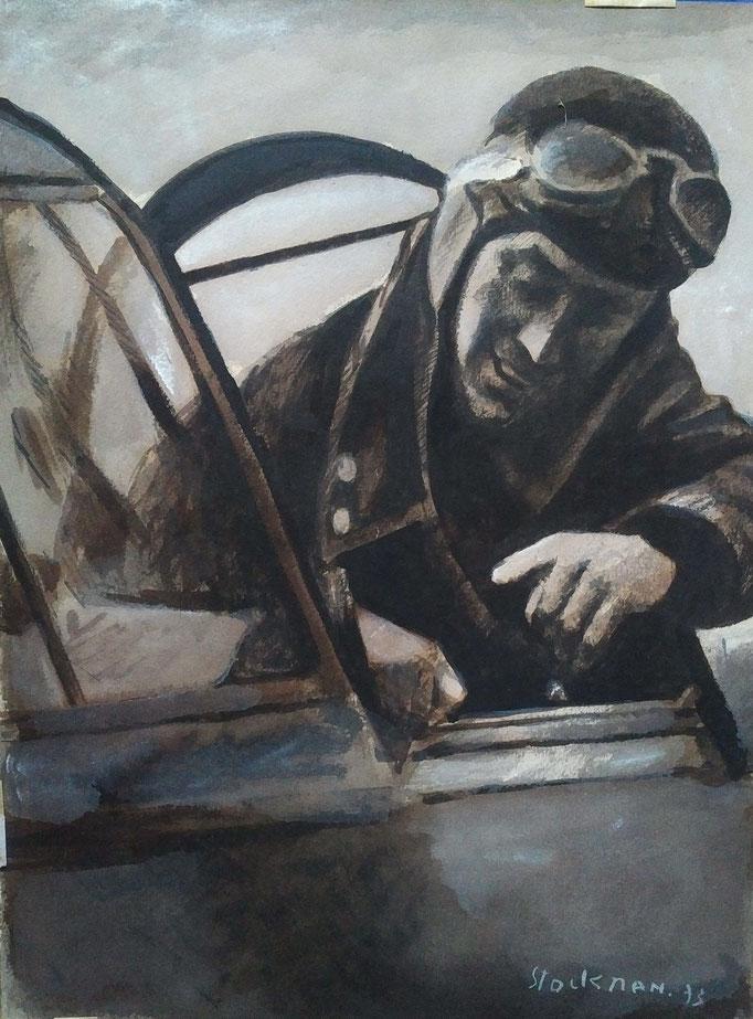 L'aviateur, acrylique sur papier, 50x65,  [1973], collection d'atelier