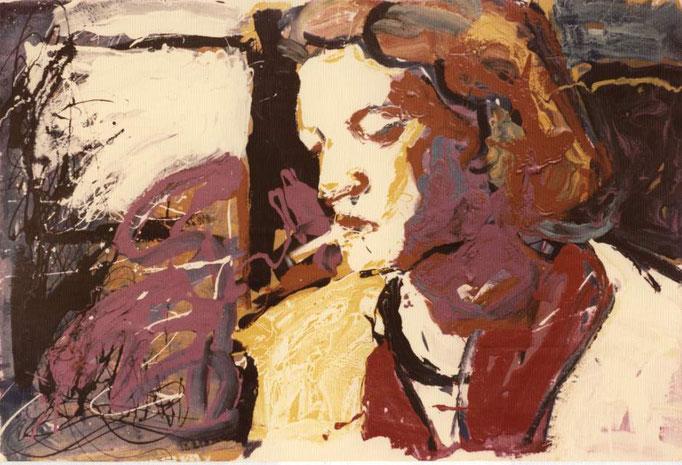 Femme à la cigarette,  laque industrielle, collection particulière, Belgique