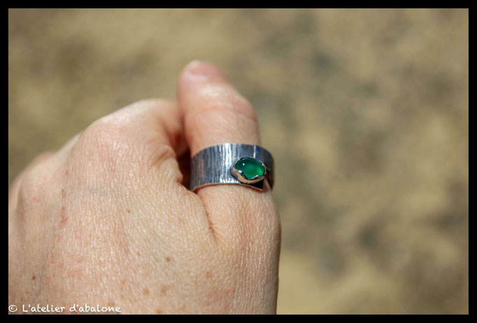 155.Bague Agate verte superpose, Argent massif, 60 euros