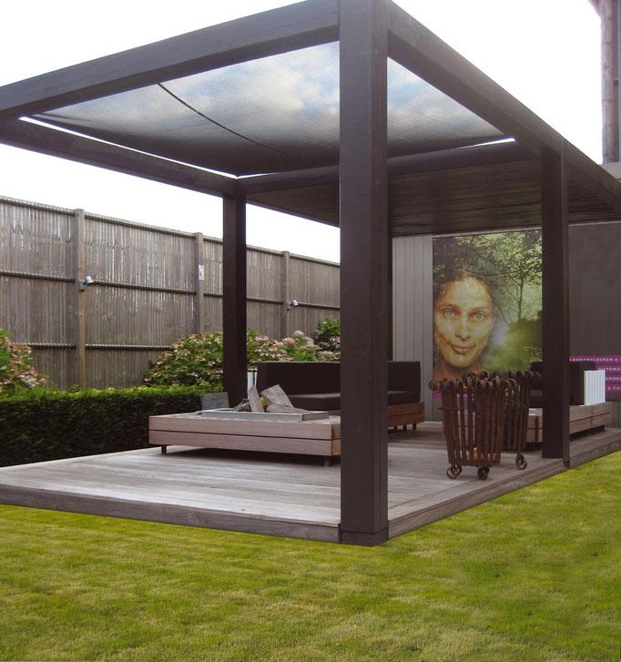 Salon d'été : pergola bois + voile d'ombrage + claustra mobile - GARANTIE 25 ANS