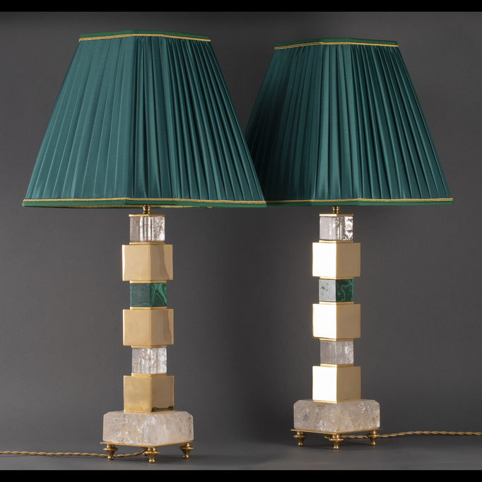 rock crystal and malachite lamps BY ALEXANDRE VOSSION
