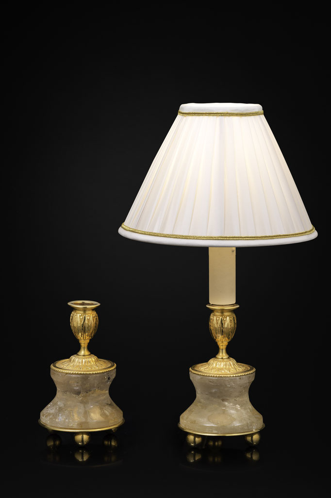 Pair of Rock Crystal and Gilt-Bronze Lamps /Candlesticks Louis the XVI th Style
