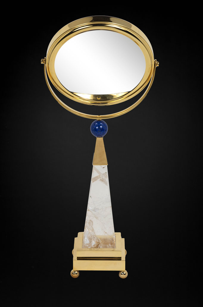 ROCK CRYSTAL AND LAPIS LAZULI TABLE MIRROR BY ALEXANDRE VOSSION