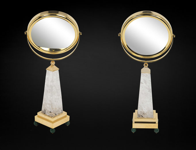 ROCK CRYSTAL AND MALACHITE TABLE MIRROR BY ALEXANDRE VOSSION