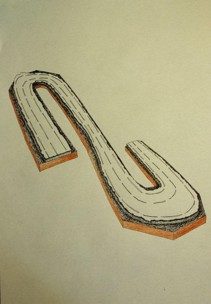 Route, dessin à l'encre et crayons, 21x29,7 cm. 2013.
