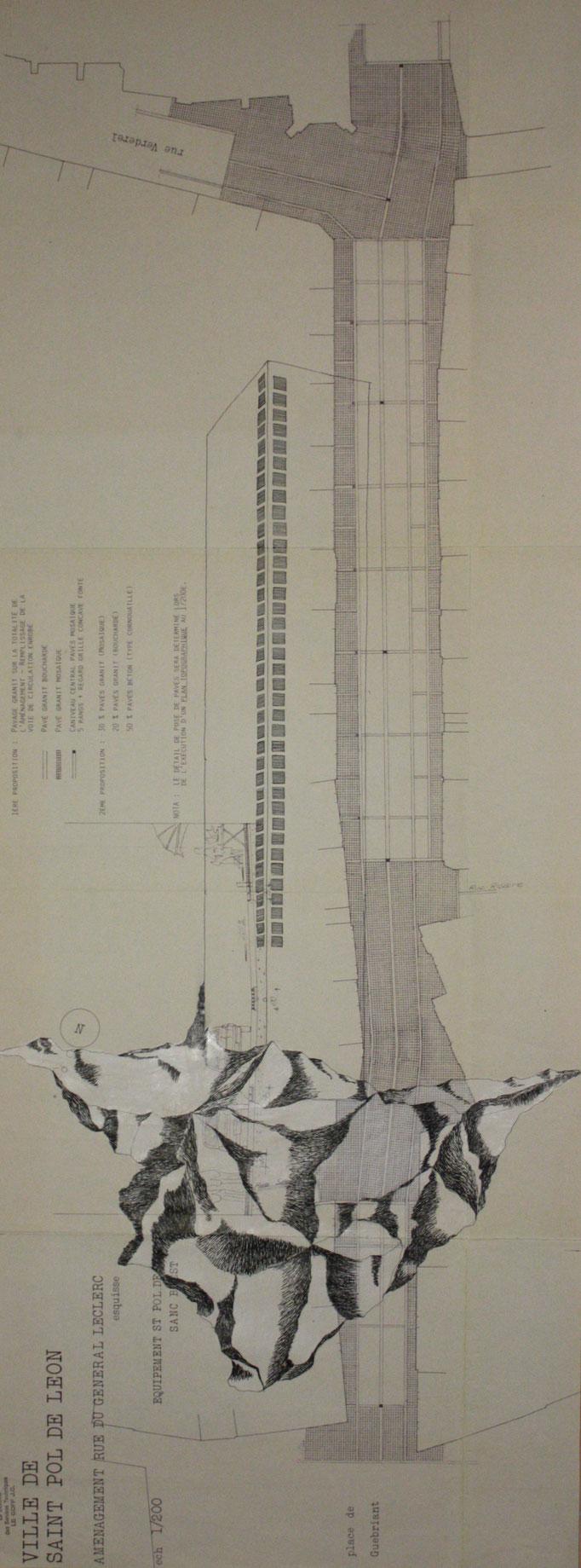 Tour I, dessin à l'encre sur plan d'urbanisme, 20x75 cm , 2012.