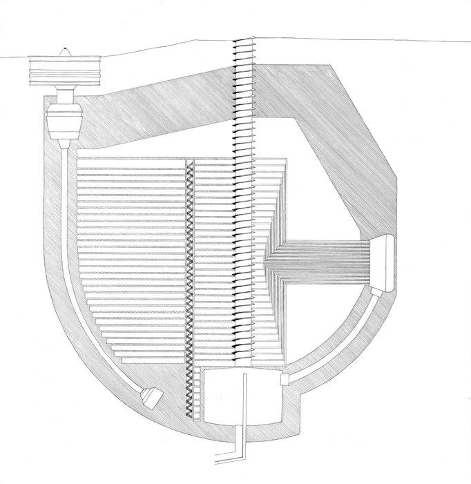 Gondawa I, dessin à l'encre format 80x90 cm, 2014.