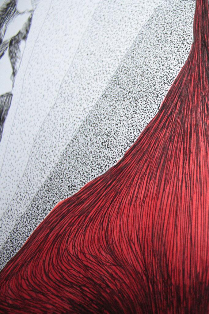L'énergie unverselle (détail), dessin à l'encre format 75x105cm, 2014.