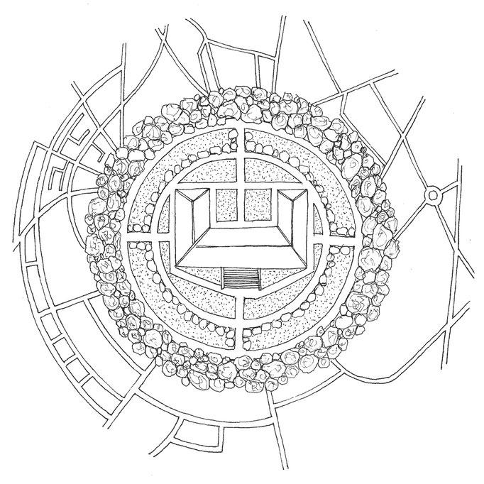 Le domaine de La Bête, dessin à l'encre, 21x21 cm, 2014.