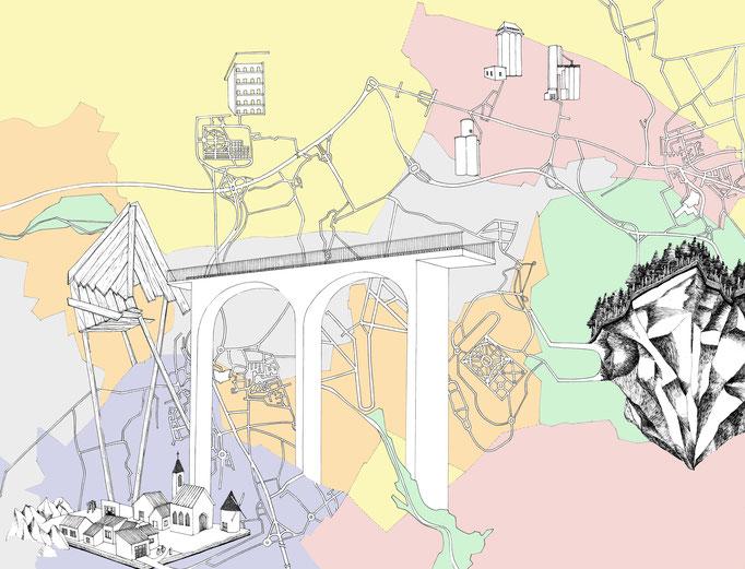 Cartographie de lieux autres, technique mixte, 50x 65 cm, 2014.