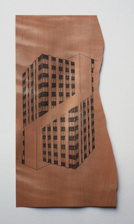Encre sur poirier, 30x23, 2012.