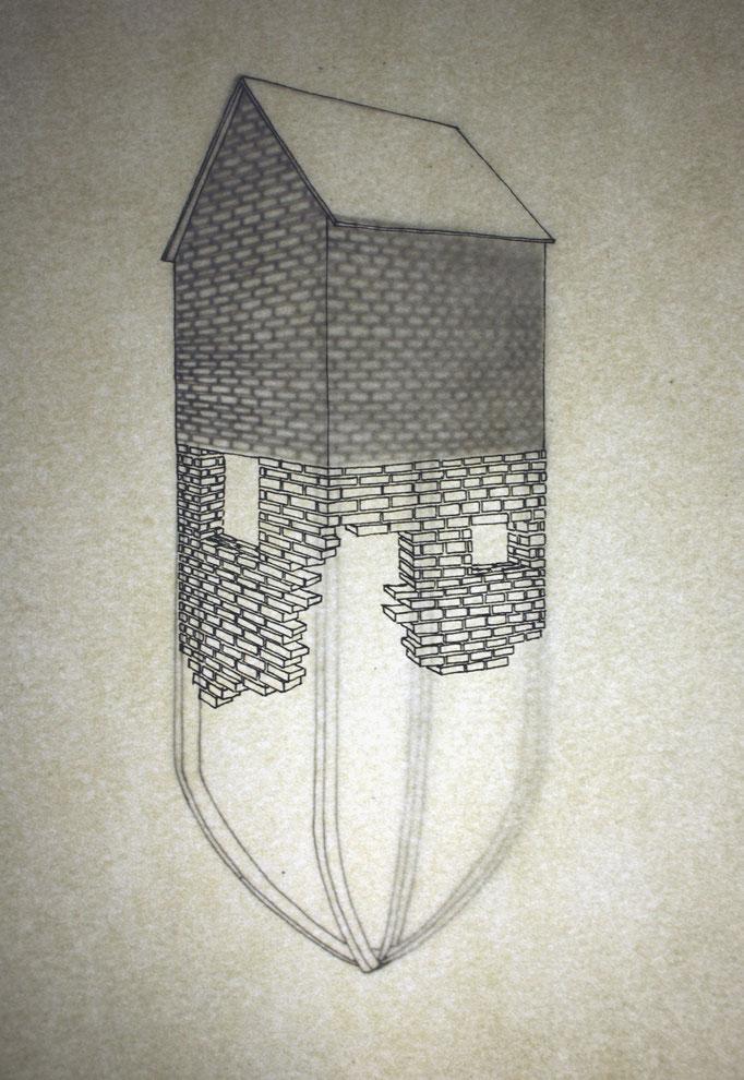 Dessin à l'encre extrait de la série les Forts, 5 formats 21x29,7 cm. 2013.