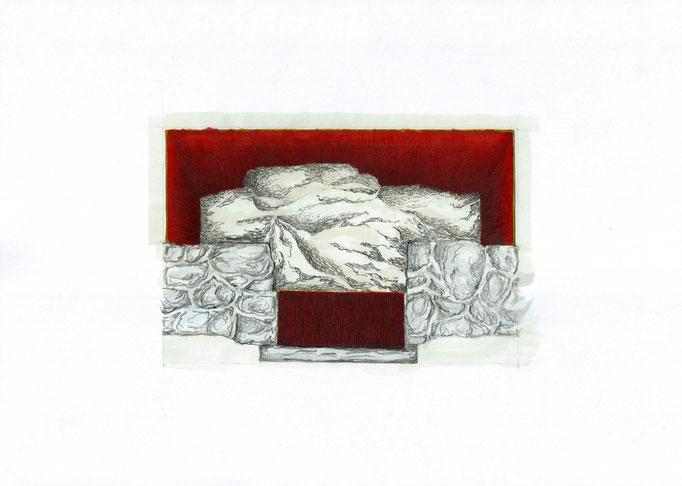 Dessin extrait de la série Les Puissants fonds, 21x30 cm, 2018.