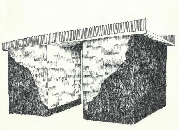 Pont, dessin à l'encre et crayons, 21x29,7 cm. 2013.