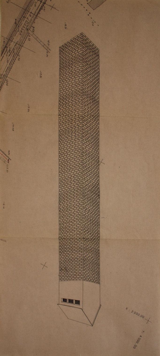 Tour II, dessin à l'encre sur plan d'urbanisme, 20x75 cm , 2012.