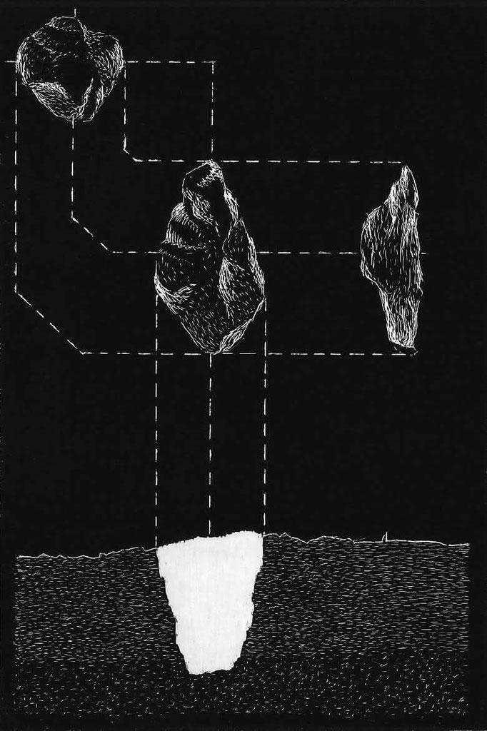 Projections d'un trou, 10x15 cm, 2018.