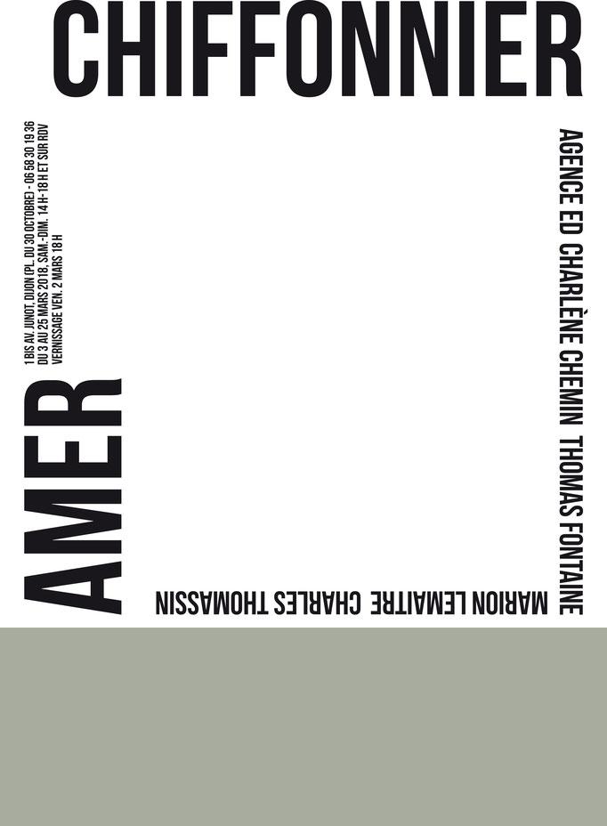 Affiche de l'exposition AMER, Salomé Joineau, Atelier Chiffonnier, 2018.