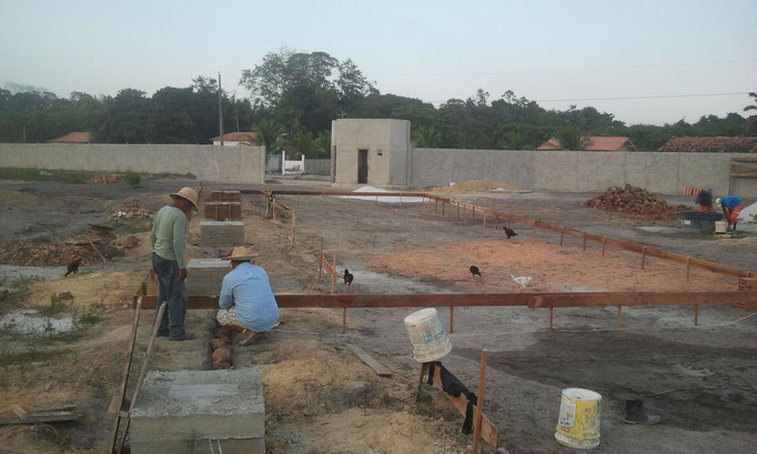 constructionwork on the base for storehous and office