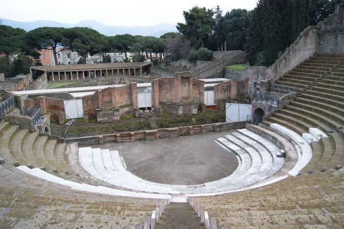 Théâtre de Pompéi, Italie, IIIe siècle ané, 15 gradins, 5000 spectateurs
