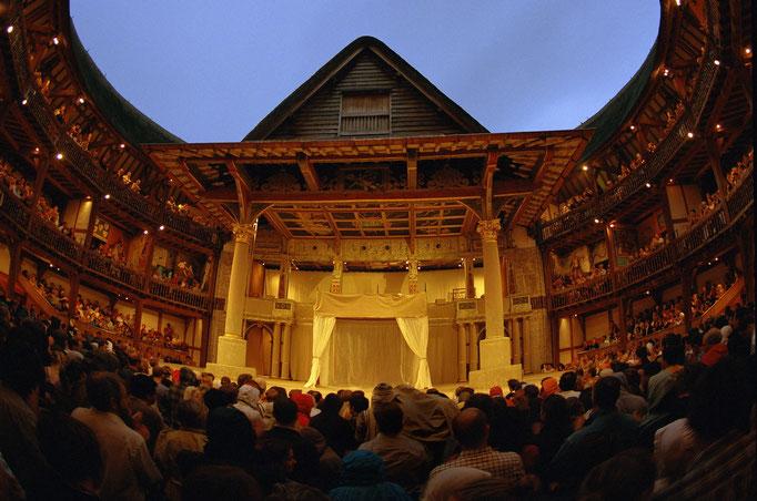 L'intérieur du Globe, XVIe, le théâtre de Shakespeare à Londres