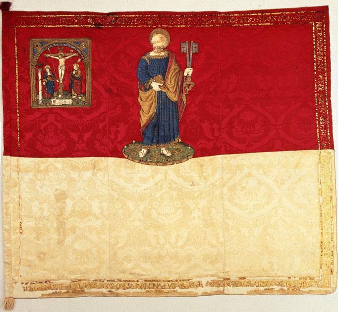 Inv.-Nr. F 0033. Juliusbanner, Geschenk von Papst Julius II. Nach 1512. Mailänder Seidendamast. 175x152 cm