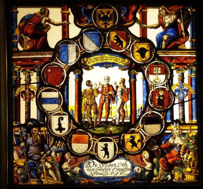 Inv.-Nr. P 0420. Wappenscheibe, Fensterschenkung der 13 Orte an Götschi, Wirt des Hotels Kreuz in Sachseln. 1656. Glasmaler: Hans Heinrich Probstatt. 53x53 cm