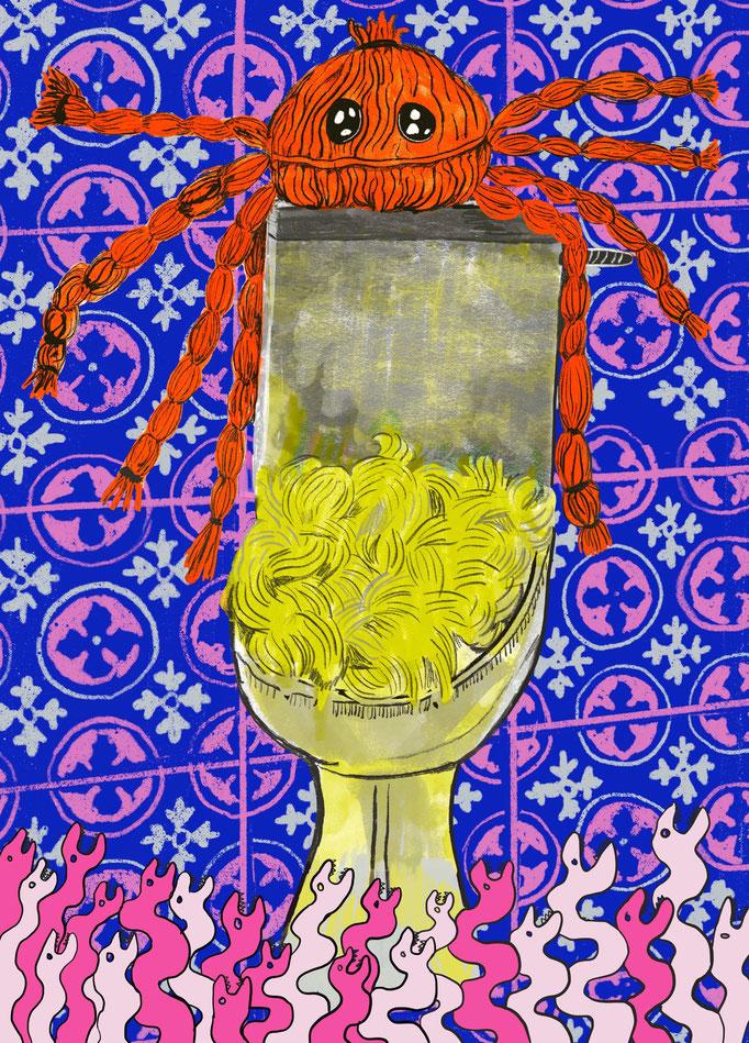 """Illustration für die Ausstellung """"Hedwig ou la Pensée-Louve"""", Fumetto Satellitenausstellung, Druck 50 x 70cm, 2021"""