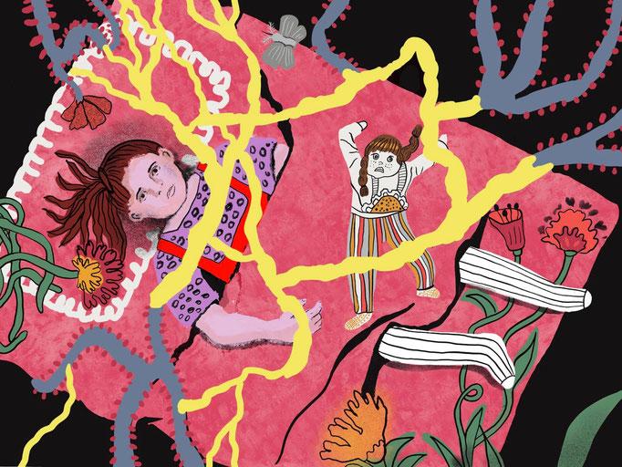 """Illustration für das Buch """"Hedwig ou la Pensée-Louve, Antipodes Verlag, Lausanne 2021"""