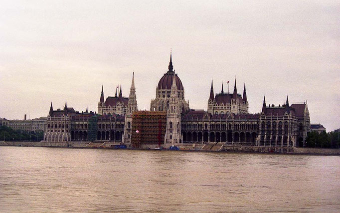 The Hungarian Parlament over the Danube river, Budapest, Hungary, 2003