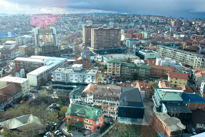 Town of Pristina. after the february partially-recognised and self declared indipendence from Serbia. Kosovo. 2008