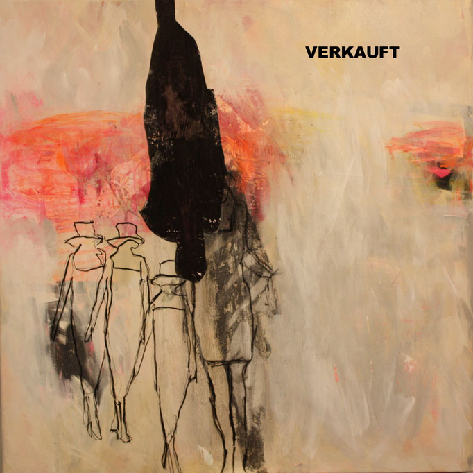 -WALK YOUR WAY 1- Acryl auf Leinwand mit Collage - 100cmx100cm